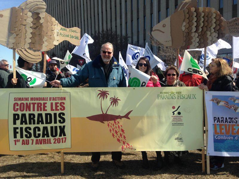 Manifestant lors de la semaine mondiale d'action contre les paradis fiscaux