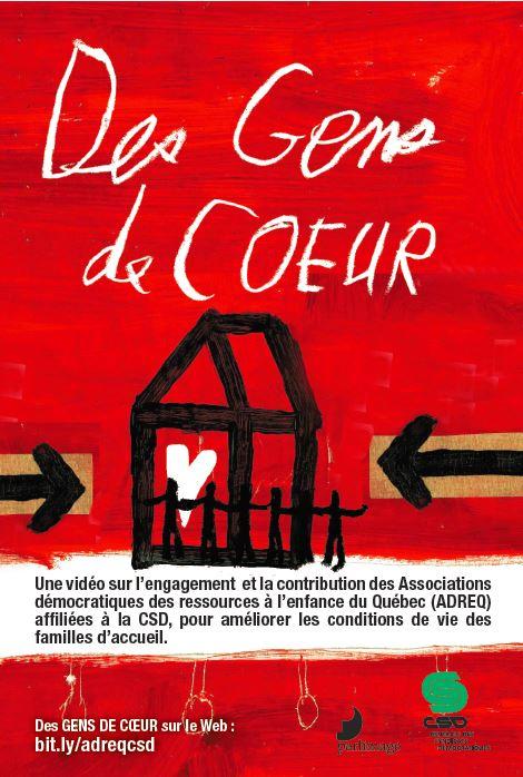 Visuel rouge sur lequel on voit une maison dessinée en noir avec des bonhommes et le texte Des gens de coeur est écrit en blanc à la main.