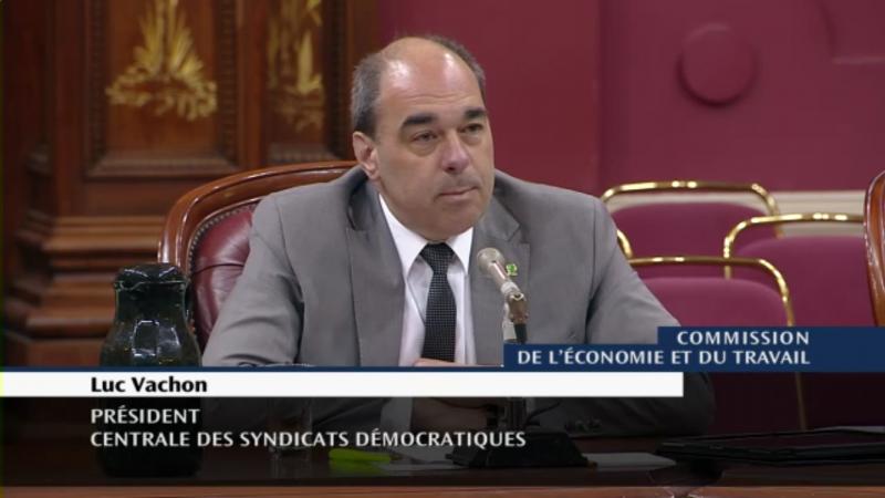 Luc vachon à la Commission de l'économie et du travail