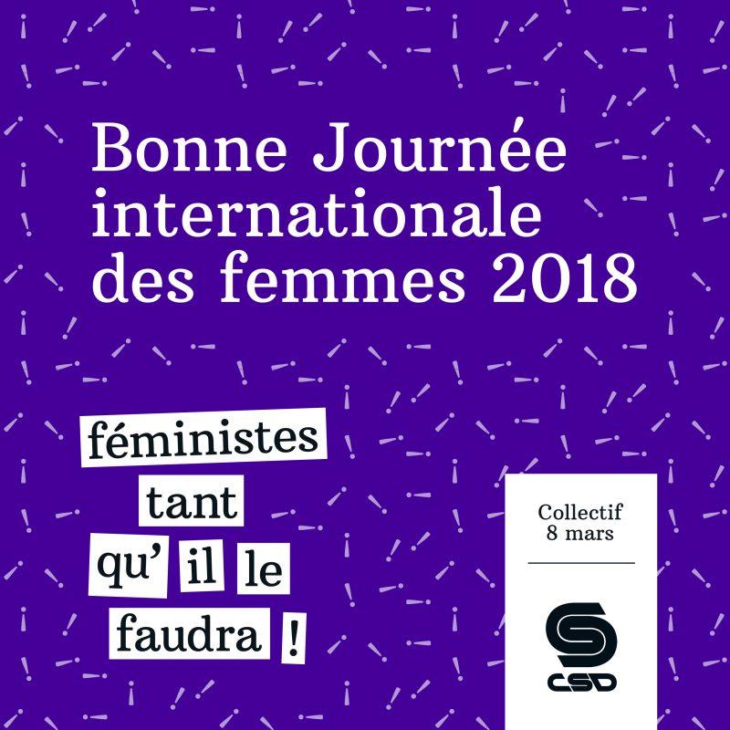 Visuel mauve avec texte Bonne journée internationale des femmes 2018