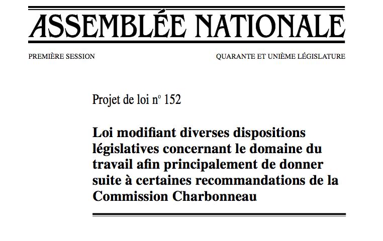 Page couverture du Projet de loi 152.