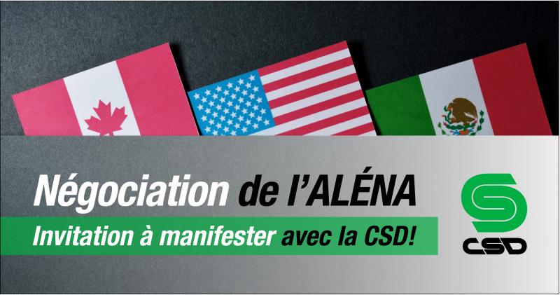 Visuel des drapeaux du Canada, des États-Unis et du Mexique avec une superposition de texte Négociation de l'ALÉNA