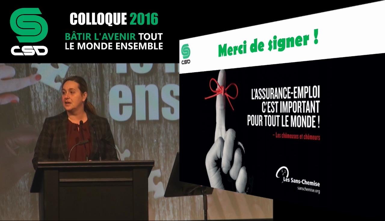 Renée Rodrigue s'adressant aux militants lors du colloque