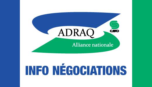 Logo de l'ADRAQ avec la mention Info négociations