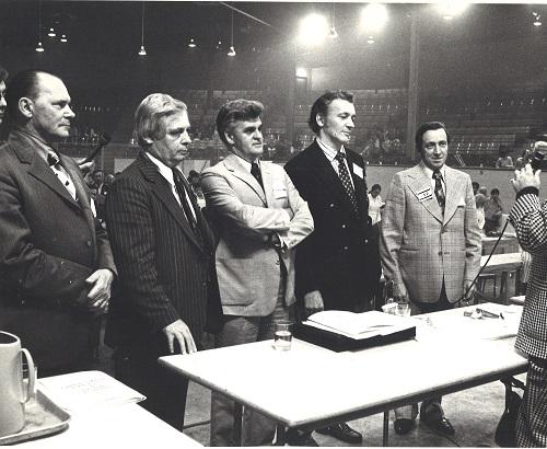 Photo noir et blanc de 4 hommes au Congres de fondation de la CSD en 1972