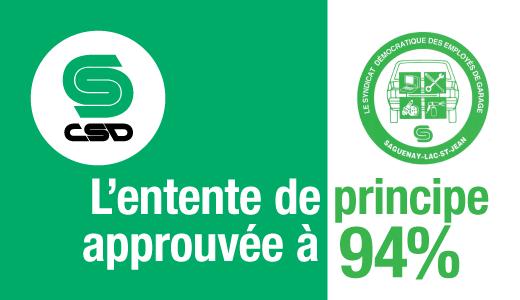 Visuel vert et blanc sur lequel on peut lire L'entente de principe approuvée à 94% ainsi que le logo vert du Syndicat démocratique des employés de garage