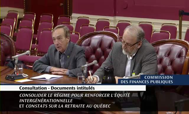François Vaudreuil et Normand Pépin devant la Commission des finances publiques