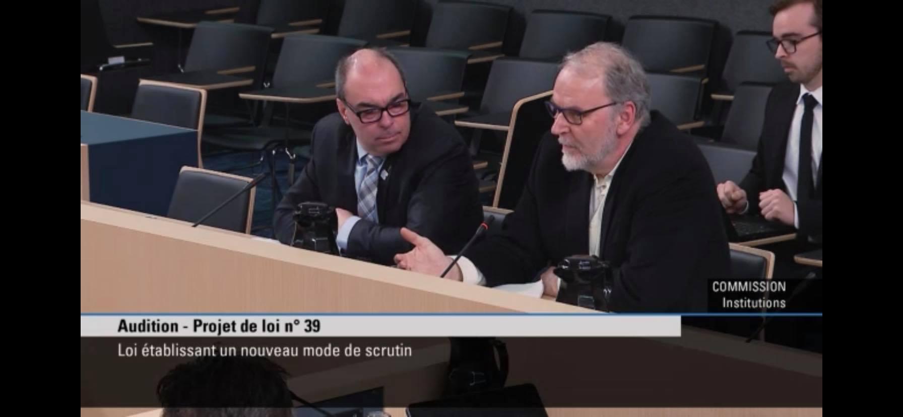 Luc Vachon et Normand Pépin en commission parlementaire
