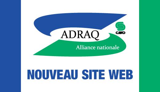 Logo de les ADRAQ avec la mention Nouveau site web inscrite en bleu.