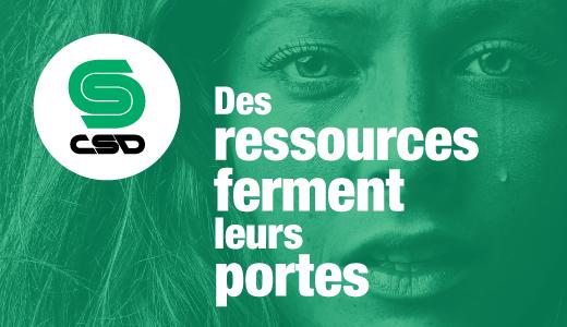 Visuel d'une femme qui verse une larme avec un filtre vert sur lequel on peut lire Des ressources ferment leurs portes.