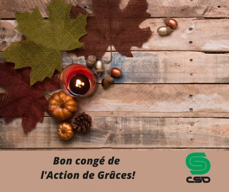Décorations de l'Action de Grâce avec le logo CSD.